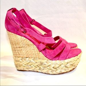 Casadei pink suede wedge gorgeous new 7.5